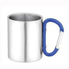 Stainless Steel Mug with Carabiner Handle Portable Travel Cup for Outdoors or Camping